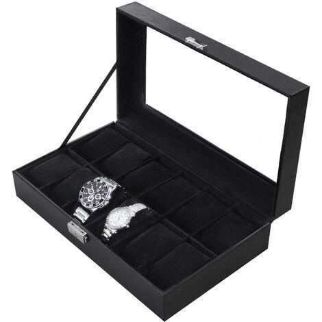 Boite pour Montres et Bracelets, Coffret à Montres, Noir, 12 montres et vitre, Dimensions: 30 x 20 x 8 cm