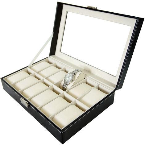 Boite pour Montres et Bracelets, Coffret à Montres, Noir/Beige, 12 montres et vitre, Dimensions: 30 x 20 x 8 cm