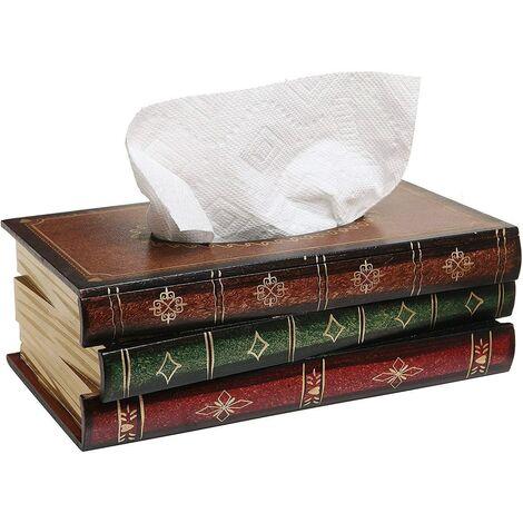 Boîte pour mouchoirs, Boîte à mouchoirs Mouchoir, Distributeur de Mouchoirs élégant pour lavabo et vasque, Bois 25x14x10cm Rouge