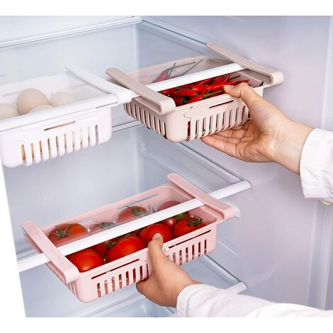 Boite Rangement Frigo Réfrigérateur Escamotable avec Tiroir Organisateur Boîte de Rangement pour Réfrigérateur Garder Le Réfrigérateur (3 Pack)