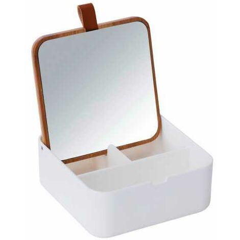 Boite rangement maquillage, boite à bijoux avec Miroir, Bovisa Bambou, Blanc