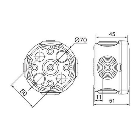 Boîte ronde embouts à entrée directe Plexo Legrand Finition Blanche Dimension Ø 70 mm Prof. 45 mm