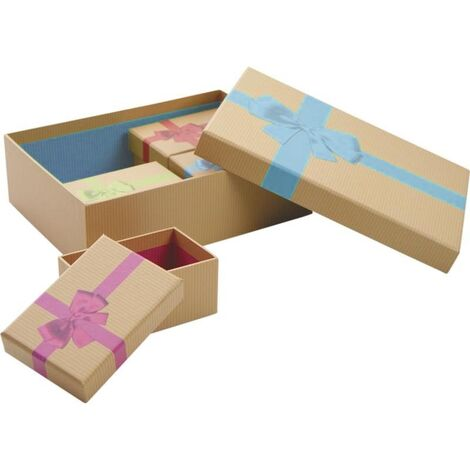 Boites de Noel avec noeud en carton (Lot de 5) Beige bandeau rose - Beige bandeau rose