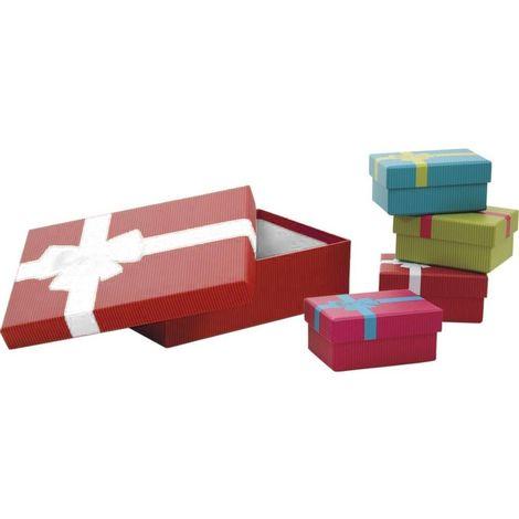 Boites de Noel avec noeud en carton (Lot de 5) Rouge - Rouge