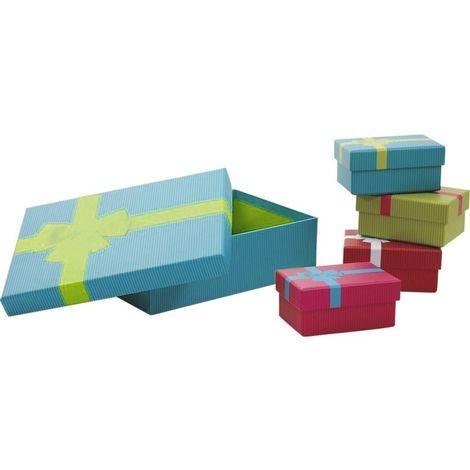 Boites de Noel avec noeud en carton (Lot de 5) Vert turquoise - Vert turquoise
