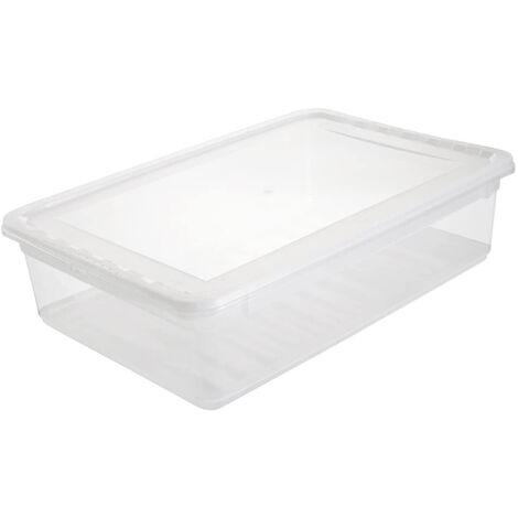Boîtes de rangement, plastique, naturel transparent, 39 x 26,5 x 10 cm