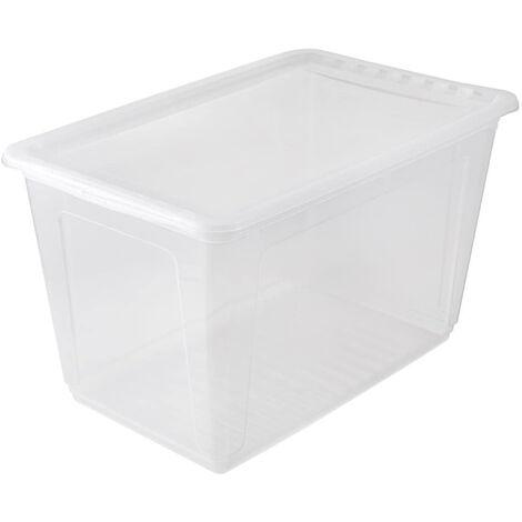 Boîtes de rangement, plastique, naturel transparent, 59 x 39 x 35 cm