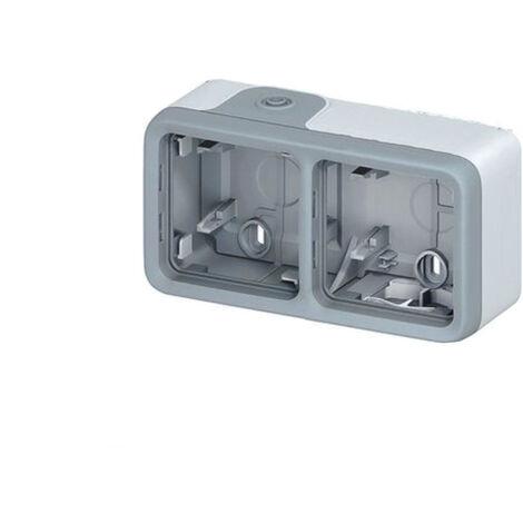 Boîtier à embouts 2 postes horizontaux -Plexo composable IP55 - Gris - Legrand