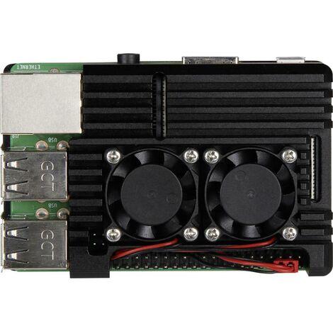 Boîtier pour ordinateur monocarte Joy-it Armor Case BLOCK ACTIVE RB-ALUCASE+07FAN Convient pour: Raspberry Pi avec refr