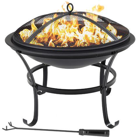 Bol à feu foyer brasero avec grille de cuisson charbon de bois couvercle Ø 56 cm
