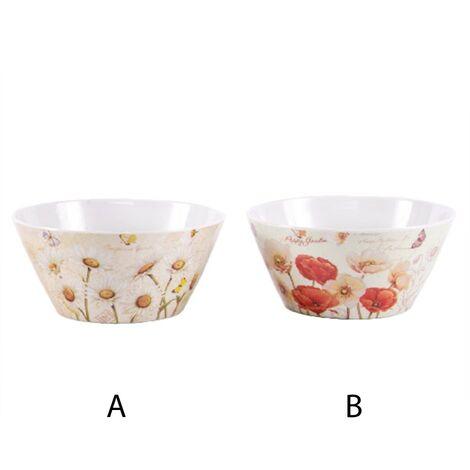 Bol con ilustraciones de flores (15x8 cm) melamina A