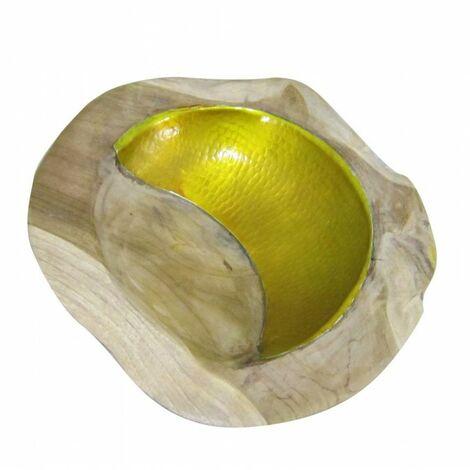 Bol en racine de teck et design aluminium - YELLOW TEAK BOWL - Jaune
