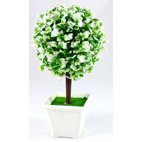 Bola de Arbusto, Mini árbol Artificial con Maceta. Flores Decorativas 23x12 cm