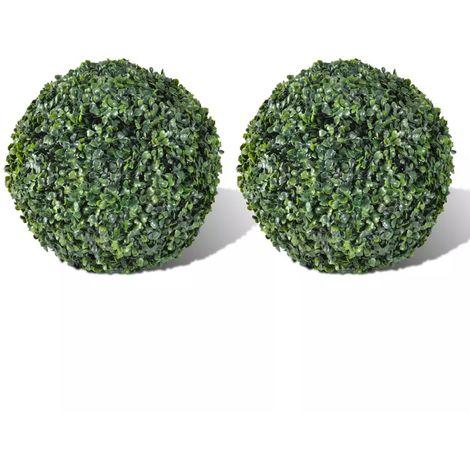 VidaXL Arbusto de bolas Boj artificial H27 cm 2 unidades(no se puede enviar a Baleares)