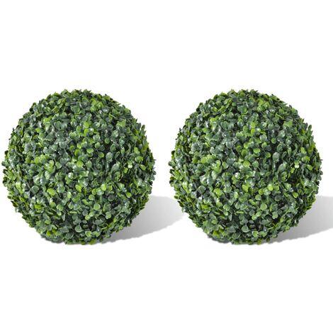 Arbusto de bolas Boj artificial 2 unidades 35 cm