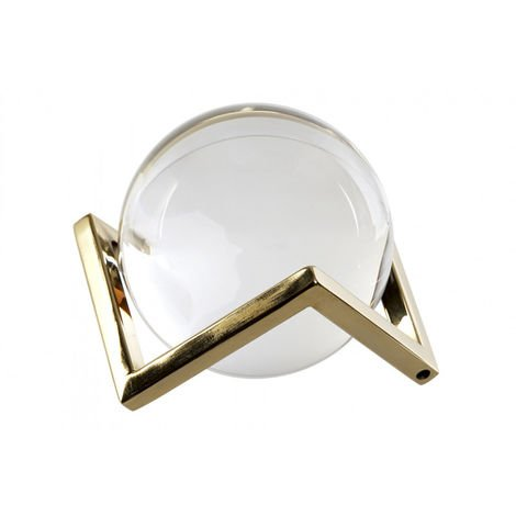 Bola de Cristal Decorativa Pequeña, con Soporte de Metal Dorado. Diseño Original, con estilo Moderno (12cm X 10cm) - Hogar y Más