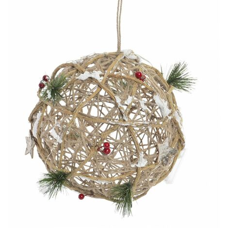 Bola de Navidad Colgante con Luces LED realizado en Ratán. Diseño Navideño/Original 25x25 cm.-Hogarymas-