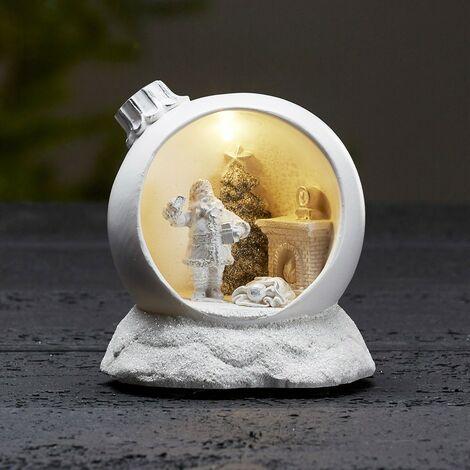 Bola de Navidad luminosa para pedir motivo Santa Claus blanco