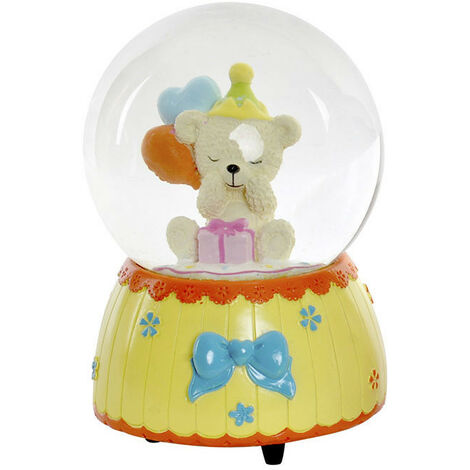 Bola de Nieve Musical con Diseño de Osito, Hay 4 Modelos a elegir. Realizada en Cristal y Resina 10X10X15 cm Color - Amarillo