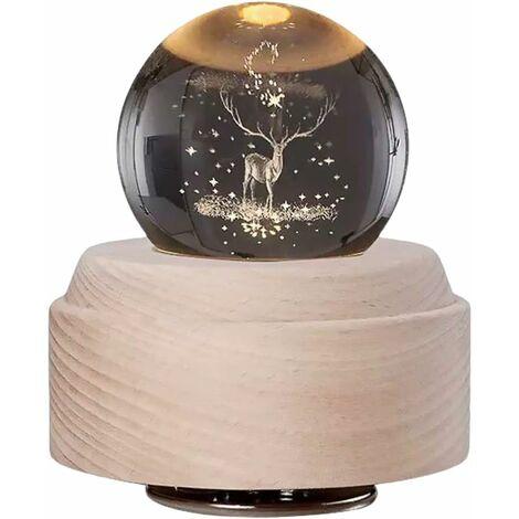 Bola de nieve musical navideña con purpurina giratoria Rudolph Reindeer Bola de cristal con soporte de madera Lámpara LED Luz nocturna Decoración del hogar Adorno de aniversario