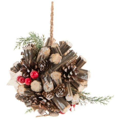 Bola Decorativa Colgante de Navidad, Diseño Natural, Ideal para decoración Navideña/Original 17cm.-Hogarymas-
