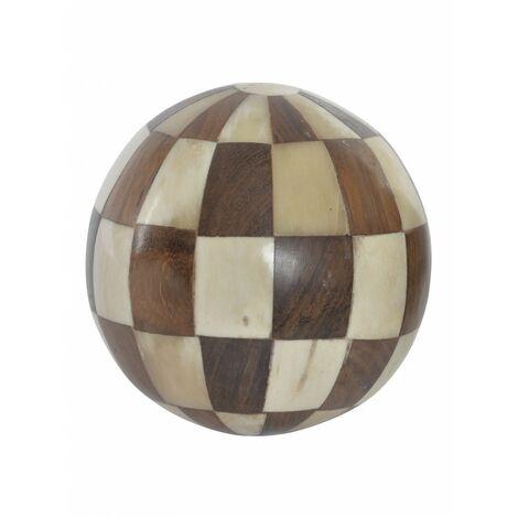 Bola Decorativa de Madera y Hueso, Ideal para el Salón/Dormitorio, 2 Modelos a elegir. Original/Étnico (Ø10 cm).-Hogarymas- A