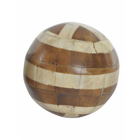 Bola Decorativa de Madera y Hueso, Ideal para el Salón/Dormitorio, 2 Modelos a elegir. Original/Étnico (Ø10 cm).-Hogarymas- B