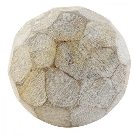 Bola Decorativa de Mango, Bola con decape Blanco, Ideal para el Salón/Dormitorio. Étnico/Moderno (Ø12cm) - Hogar y Más