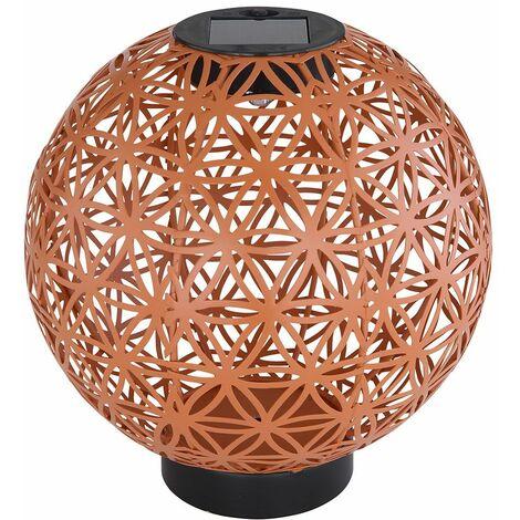 Bola decorativa de metal Lámpara LED Jardín solar exterior Iluminación para exterior, decoración oriental diseño de tono de perforación rojo marrón, 1x LED blanco cálido, DxH 20 x 21 cm, balcón