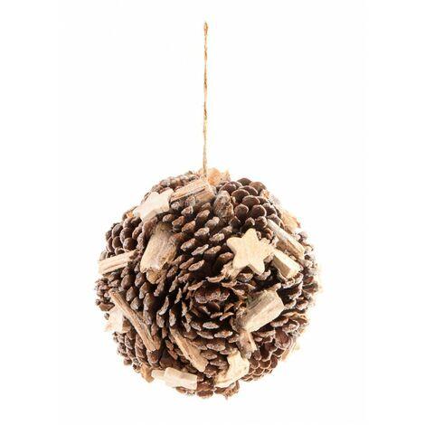 Bola Decorativa Navidad Diseño de Piñas Natural, Ideal para decoración Navideña y Original 18 cm.-Hogarymas-