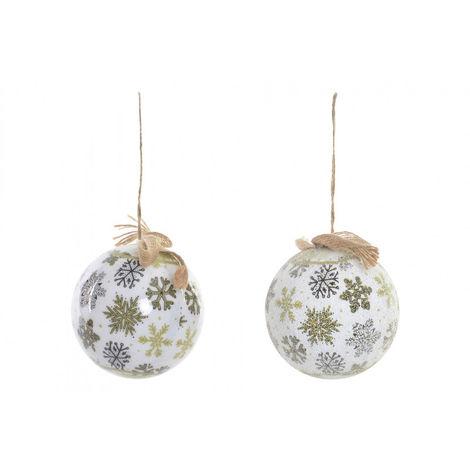 Bolas de Navidad Blancas, con toques Dorados, para Decoración Navideña. Diseño de Copos de Nieve. Set de 6 - Hogar y Más