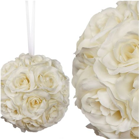 Bolas de Rosas Artificial con Cinta. Realista de Tela. 15 Cm