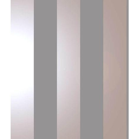 Bold Stripe Grey Rose Gold Metallic Shimmer Wallpaper Feature Holden Decor