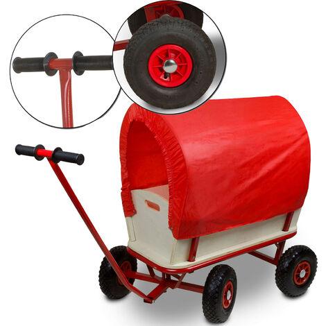 Bollerwagen MaxiePlus Rot aus stabilem Holz - Transportwagen mit Gummireifen