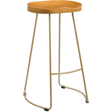 "main image of ""Bolley Pine Wood Gold Effect Leg Bar Stool"""