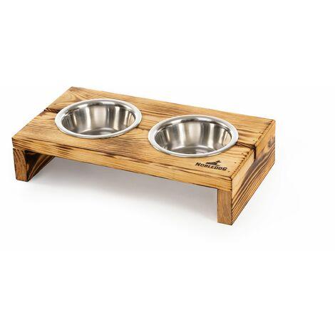 Bols Nobledog pour chiens, chats, bois de pin, station d'alimentation, bols en acier inoxydable, support de bol alimentaire:2 x 0.6 L