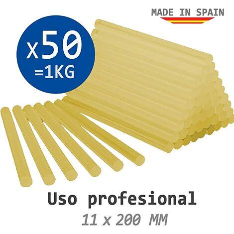 Bolsa 1 Kg De Cola Termofusible Amarilla - 50 Barras De Silicona Para Pistola Caliente 11 X 200 Mm - Profesional - (Made In Spain)