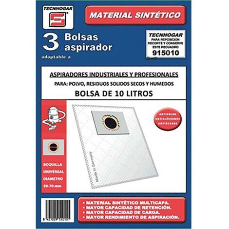 Bolsa Aspirador Industrial Universal 10Lt Tecnhogar 3 Pz 915010