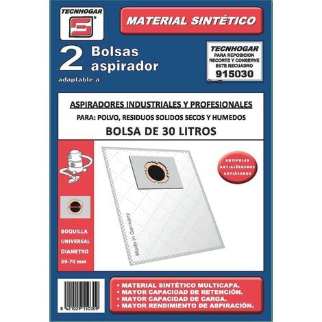 Bolsa Aspirador Industrtial 2U 30L 48X49 Cm - TECNHOGAR - 915030