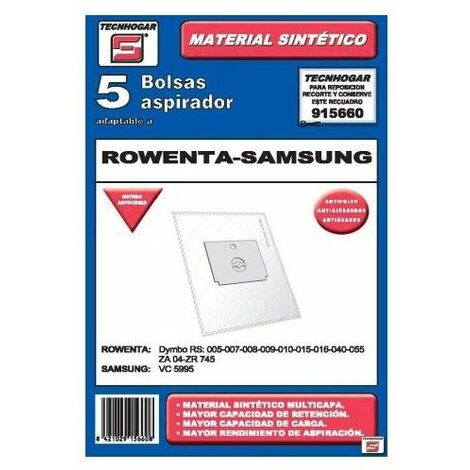 Bolsa Aspirador Papel Rowenta-Samsung Thogar 5 Pz 915660