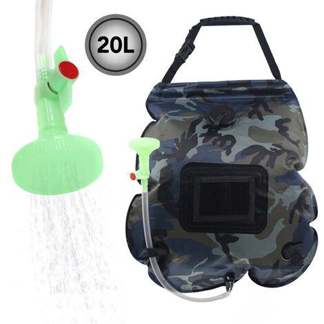 Bolsa de agua Contenedor de agua plegable 20L Bolsa de ducha portatil para acampar Bolsa de agua caliente por energia solar para exteriores, camuflaje