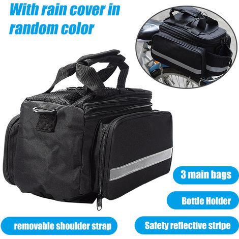 Bolsa de asiento trasero para bicicleta, portaequipajes para bicicleta, negro