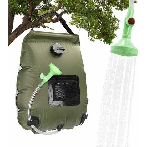 Bolsa de ducha solar LITZEE, calentador solar de 20 l, bolsa de ducha portátil para acampar, ducha solar de viaje con manguera de interruptor de encendido / apagado y cabezal de ducha, para acampar, escalar y caminar,