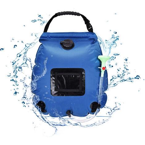 Bolsa de ducha solar para acampar Bolsa de ducha de viaje con calefaccion solar Bolsa portatil ligera y plegable Bolsa de bano para escalada al aire libre 20L / 5 Galones Azul