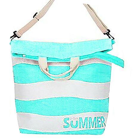 Bolsa de Playa Grande, con Cremallera y Asa Regulable. Diseño Veraniego, con estilo Moderno (58cm X 48cm X 19cm) - Hogar y Más Azul