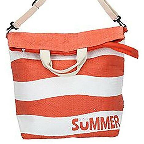 Bolsa de Playa Grande, con Cremallera y Asa Regulable. Diseño Veraniego, con estilo Moderno (58cm X 48cm X 19cm) - Hogar y Más Naranja