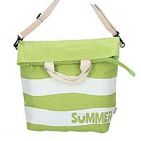 Bolsa de Playa Grande, con Cremallera y Asa Regulable. Diseño Veraniego, con estilo Moderno (58cm X 48cm X 19cm) - Hogar y Más Verde