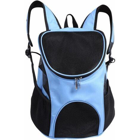 Bolsa de transporte LITZEE para perros gatos, sistema manos libres Ventilación ventilada Bolsa de hombro doble para llevar perros gatos Chinot Gatito Conejo Caminar Senderismo Viajar (azul claro) 25 x 30 x 35 cm