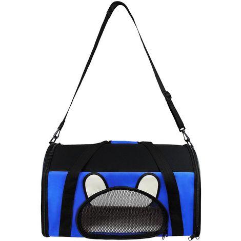 Bolsa de Transporte para Animales, Bolsa para Gatos y Perros, 50 x 31 x 29 cm, Azul, Material: Material de malla, Poliéster