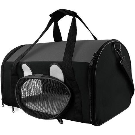 Bolsa de Transporte para Animales, Bolsa para Gatos y Perros, 50 x 31 x 29 cm, Gris, Material: Material de malla, Poliéster